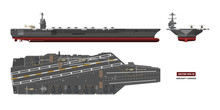 Detailed Image Of Aircraft Carrier. Military Ship. Top, Front And Side View. Battleship Model. Industrial Drawing. Warship In Flat Style