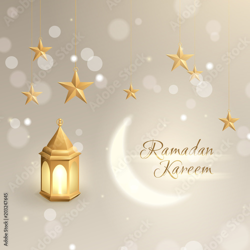 Elegant greeting card with gold islamic lantern hanging 3d elegant greeting card with gold islamic lantern hanging 3d realistic stars a shiny moon maxwellsz
