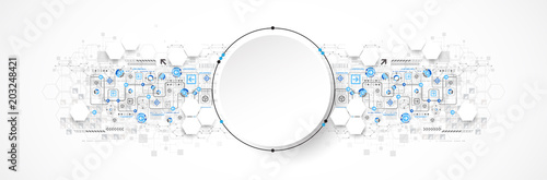 Fotografie, Tablou  Abstract circle technology concept