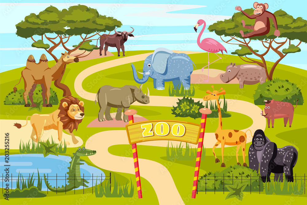 Fototapeta Zoo entrance gates cartoon poster with elephant giraffe lion safari animals and visitors on territory vector illustration, cartoon style, isolated