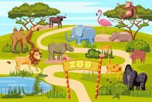 Zoo Entrance Gates Cartoon Pos...