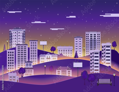 Spoed Foto op Canvas Violet City paper landscape in night with multistorey apartment houses and office buildings, public park on dark blue sky background with clouds - flat style colorful cityscape. Vector illustration.