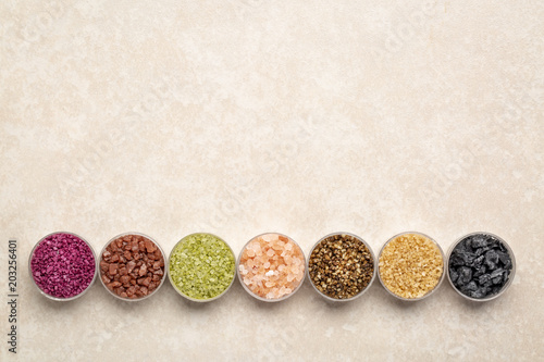 Fotografie, Obraz  colorful sea salts collection with copy space