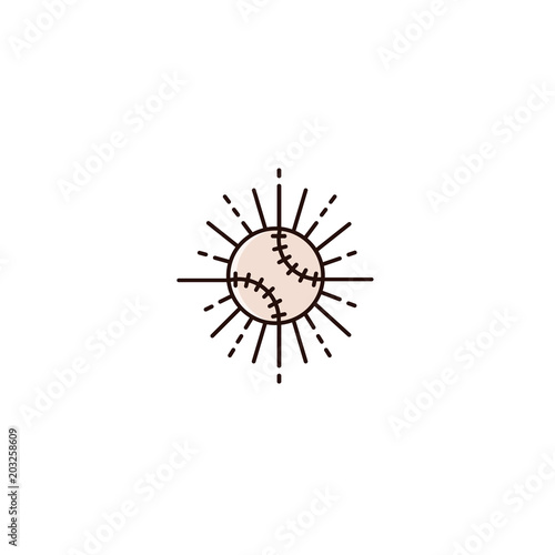 Photo  Baseball or softball with retro sun beams - flat color line icon on isolated background