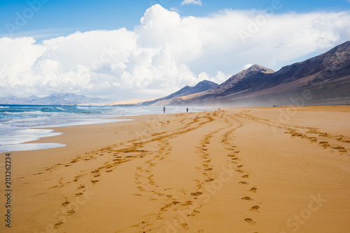 Staande foto Strand Footprints on beach, Corralejo, Fuerteventura, Canary Islands