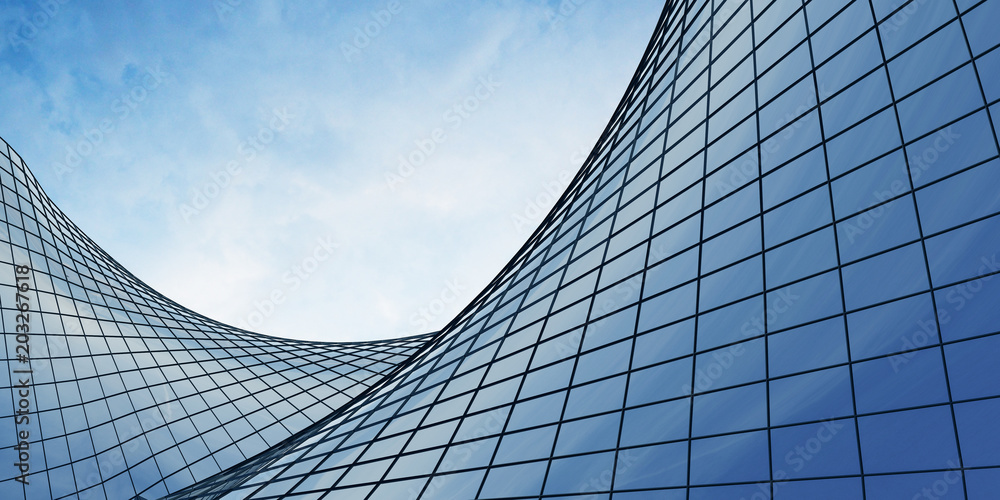 Fototapety, obrazy: View of the clouds reflected in the curve glass office building. 3d rendering