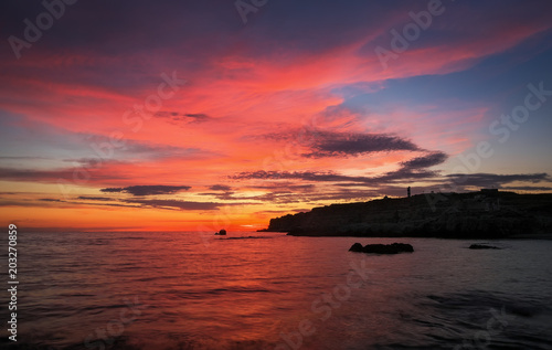 Deurstickers Koraal Beautiful summer landscape with sunset, colorful sky and sea. Composition of nature