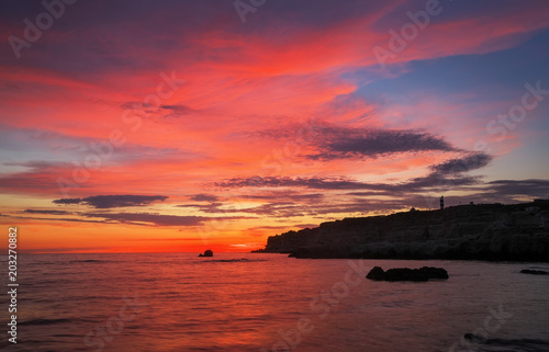 Spoed Foto op Canvas Koraal Beautiful summer landscape with sunset, colorful sky and sea. Composition of nature