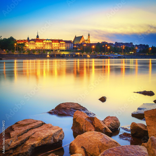Foto  Warsaw Riverside and Royal Palace at Sunset - Poland