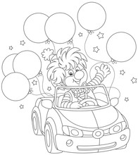 Funny Circus Clown Driving His Car With Holiday Balloons, Black And White Vector Illustration In A Cartoon Style For A Coloring Book