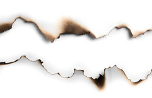 Burning Paper On White Paper W...