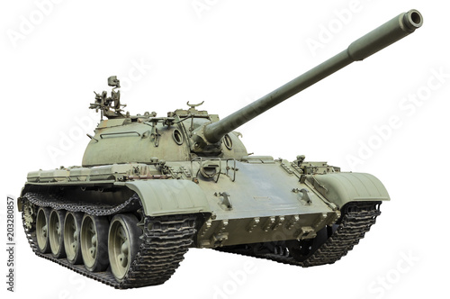T-55 Russian tank isolated on white background Fototapet