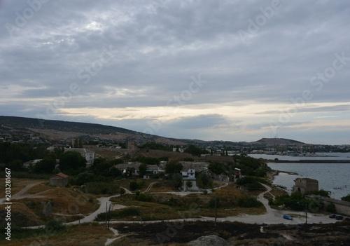Staande foto Grijze traf. Genoese fortress, Feodosiya