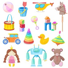 Kids Toys Vector Icons Set. Co...