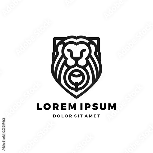 Платно Lion gate lionsgate logo shield king template vector icon illustration