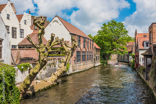 Foto op Canvas Brugge Beautiful canal of Bruges Belgium