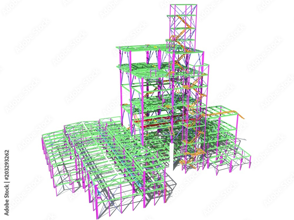 Fototapeta 3D model of an industrial building made of metal structures. Abstract background of construction, design, installation and survey. 3D rendering. Isolated on white.