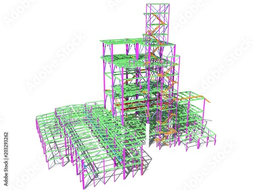 3D model of an industrial building made of metal structures