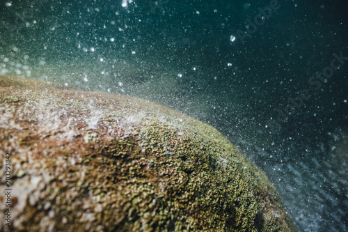 High angle view of water drops falling on mossy rock by river