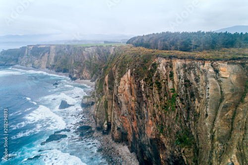 Tuinposter Luchtfoto Aerial view of cliffs in Asturias, north of Spain