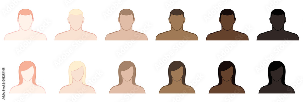 Fototapety, obrazy: Complexion. Different skin tones and hair colors of men and women. Very fair, fair, medium, olive, brown and black. Isolated vector illustration on white background.