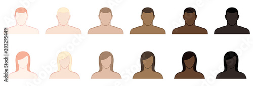 Obraz Complexion. Different skin tones and hair colors of men and women. Very fair, fair, medium, olive, brown and black. Isolated vector illustration on white background. - fototapety do salonu