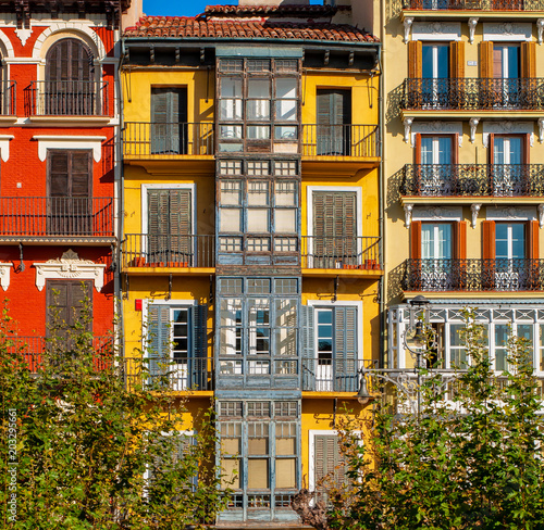 Tela  Houses in the old town of Pamplona, Spain