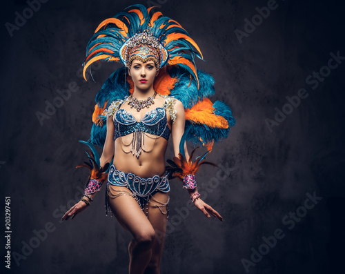 Foto  Studio portrait of a sexy female in a colorful sumptuous carnival feather suit