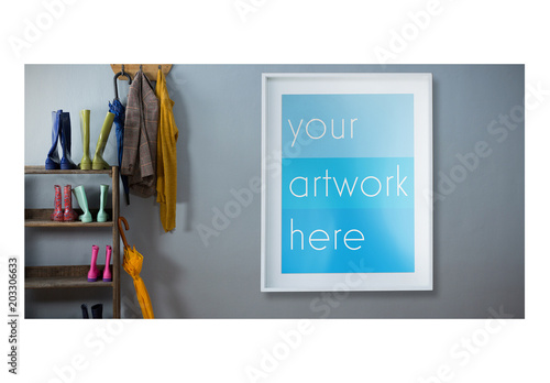 White framed poster on wall with coats and rain boots mockup buy white framed poster on wall with coats and rain boots mockup maxwellsz