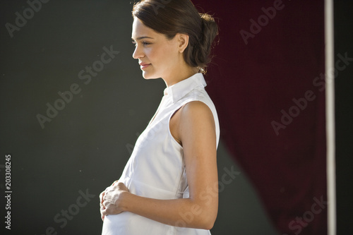 Pregnant young woman standing with her hand on her belly. Poster