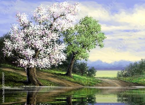 Obrazy olejne krajobrazu wiejskiego. Sztuki piękne.