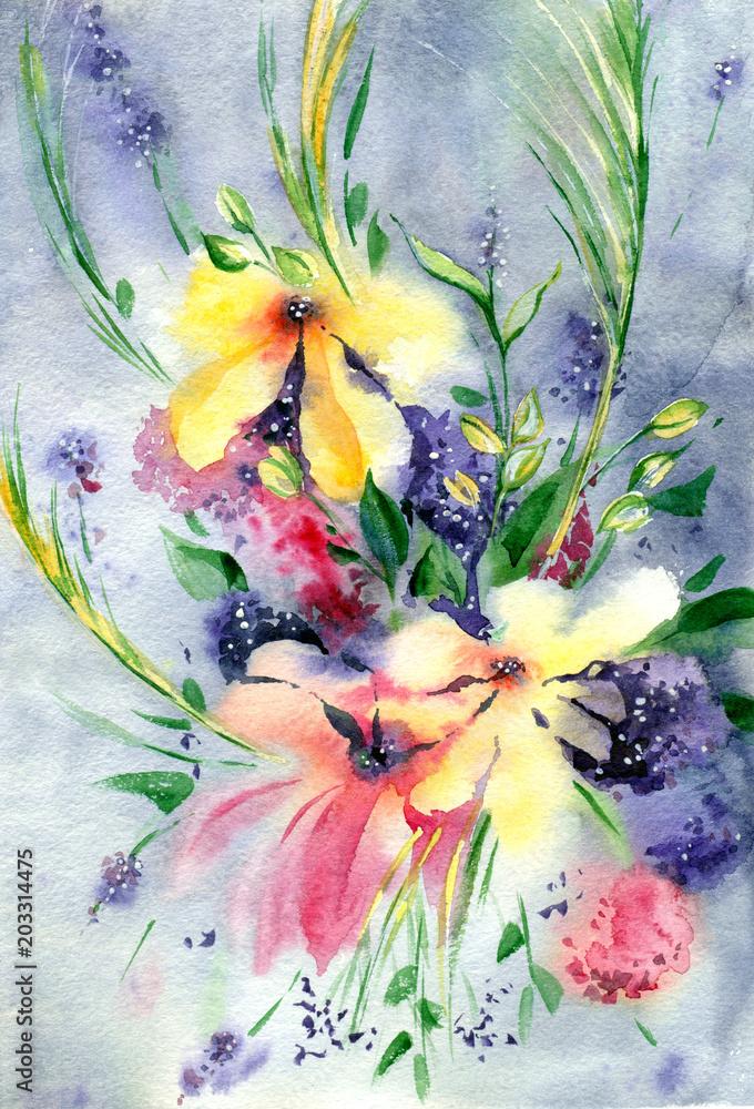 Malarstwo akwarelowe. Naturalne tło. Kolorowe, jasne kwiaty.
