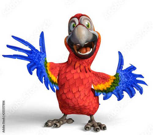 Naklejka premium kreskówka tropikalna papuga