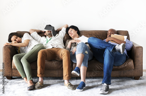 Fotografie, Obraz  Diverse workers taking rest on couch