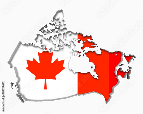 Canada Flag Map Symbol National Pride 3d Illustration