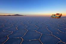 Old German Vintage Campervan On Salar De Uyuni, Salt Lake, Is Largest Salt Flat In The World, Altiplano, Bolivia, South America