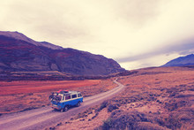 Old German Vintage Campervan Beautiful Landscape Near Paso Roballos, Nashville Retro Vintage Photo Filter Effect, Warm Color Temperature, Increased Exposure And Lower Contrast, Argentina And Chile