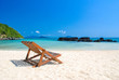 beautiful beach and chair with blue sky