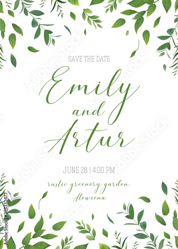 Fototapeta Wedding Floral Greenery Invitation Invite Save The Date Card Vector Design Rustic Natural Modern Style Hand Drawn Watercolor Botanical