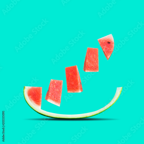 Fruits and summer concept idea with watermelon in colorful