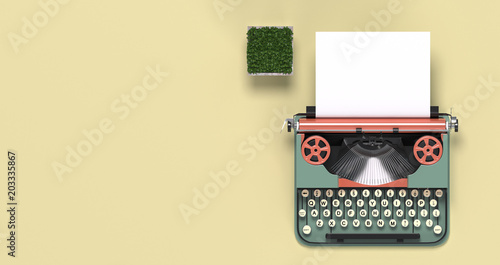 Fotografia  mock up typewriter paper and pen,eyeglasses,top view on the table colorful educa