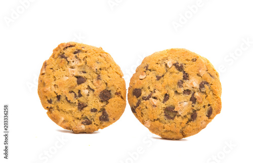 Staande foto Koekjes cookies with chocolate and nuts isolated