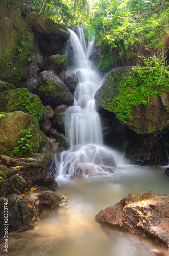 beautiful deep forest waterfall in Nakornnayok, Thailand