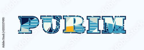 Fotomural Purim Concept Word Art Illustration
