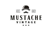 Hipster Gentleman Bowler Mustache Vintage Retro Logo Design