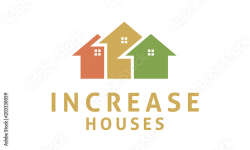 House with Increase Arrow Statistic Business Marketing logo design