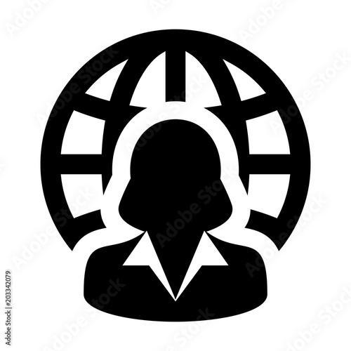Business Icon Vector Female Person Profile Avatar With Globe Symbol