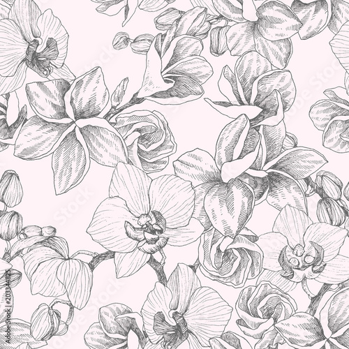 Poster Floral black and white Seamless pattern. Hand drawn outline bouquet with orchid and plumeria. Highly detailed vector illustration. Beautiful exotic flower. Cymbidium for your logo, composition, design.