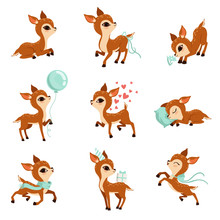 Flat Vector Set Of Cute Fawn I...
