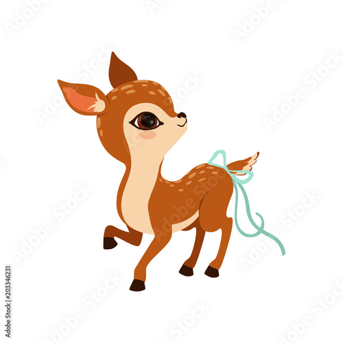 Cute little fawn character with a bow on the tail vector Illustration on a white Canvas Print